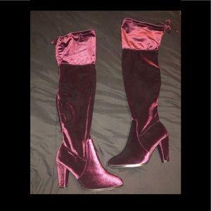 Red velvet knee high boots 💋